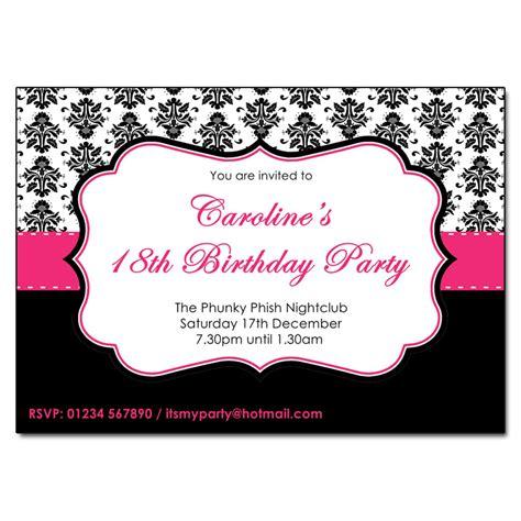 Black White Pink Wedding Invitations pink black white damask invitations the