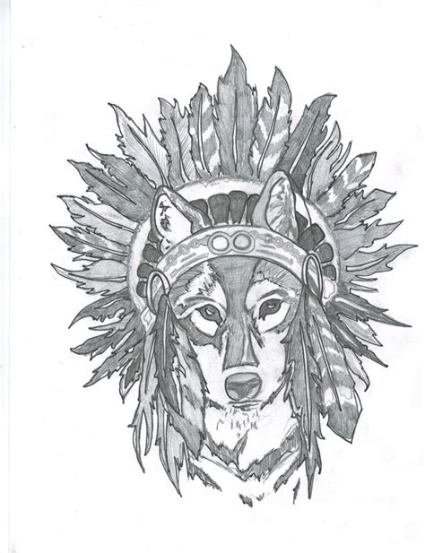 wolf headdress tattoo extremely drawing i did as a potential for