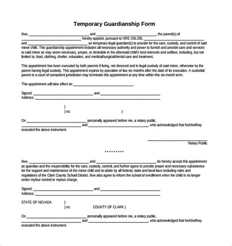 %name Free Opt In Form Templates   Sample Temporary Guardianship Form   9  Download Documents in PDF, Word