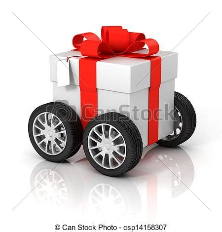 stock illustration of gift box on wheels car new