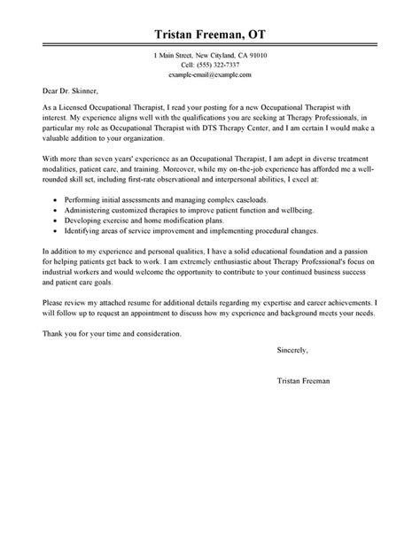 Occupational Therapy Aide Cover Letter by Leading Professional Occupational Therapist Cover Letter Exles Resources Myperfectcoverletter
