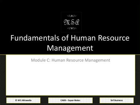 Mba Notes Of Human Resource Management by Caiib Notes Advanced Bank Management Module C