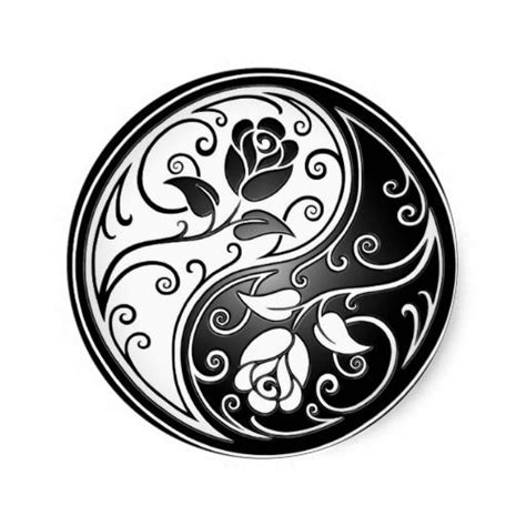 yin yang tattoo design yin yang roses black classic sticker yin