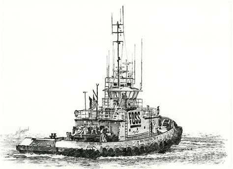 tugboat drawing tugboat daniel foss drawing by james williamson