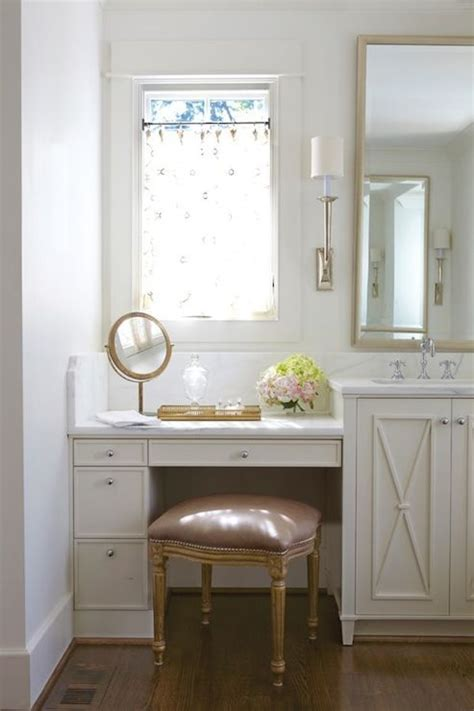 Built In Vanity Dressing Table pretty bathroom with a mauve velvet vanity stool tucked below a built in ivory dressing