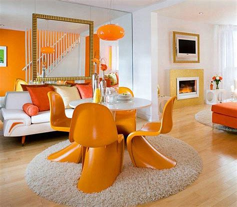 Orange Living Room Decor White And Orange Living And Dining Room Decoist