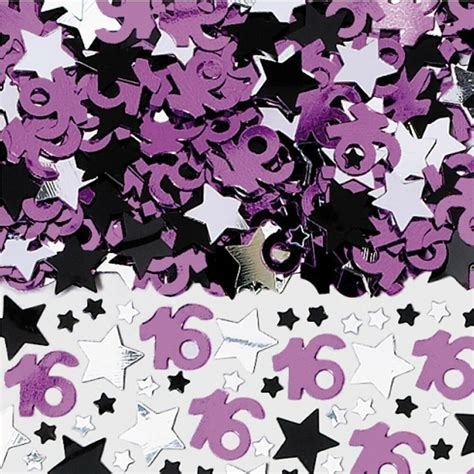16th Birthday Party Pink Black Silver Stars Confetti Table