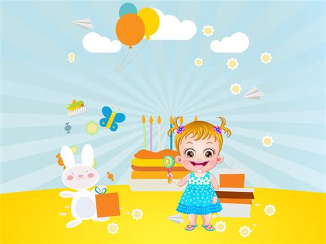 background birthday theme for babies baby hazel birthday ppt backgrounds blue