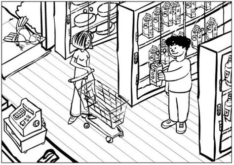 grocery store coloring coloring pages
