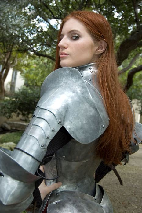 beautiful mail redhead in plate armor women wearing plate armor are far