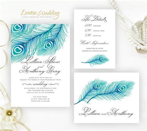 printed wedding invitations cheap blue peacock wedding invitation kits printed feather