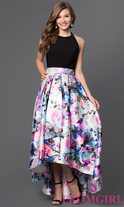 Longdres Lowo Mawar by Floral High Low Dress With Halter Neck Promgirl