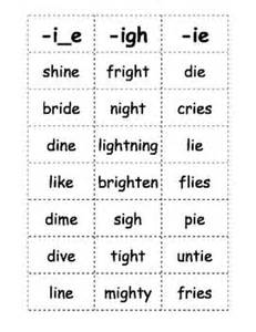 Here is a list of words with the long i sound that kids can play games