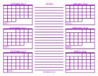 Calendar 2018 6 Months 6 Month Calendar 2017