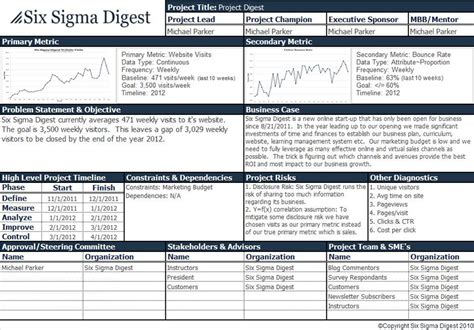 Six Sigma Project Charter Exles Project Charter Best Project Charter Template