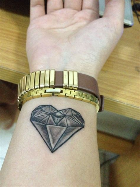 diamond heart tattoo shape on my wrist