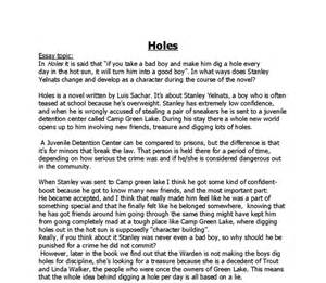Holes Essay by Essay On Quot Holes Quot By Luis Sachar Gcse Marked By Teachers