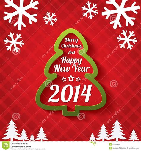 merry christmas tree greeting card 2014 stock vector