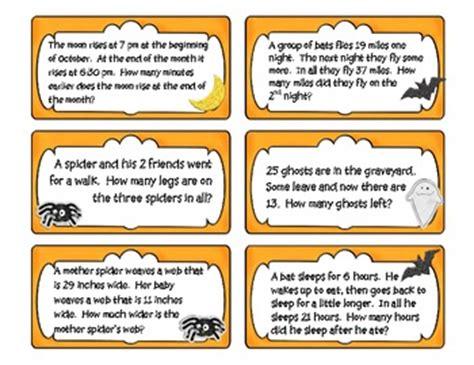 halloween math problem solving task cards by kristen