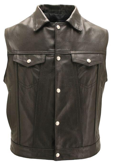 vest with pockets mens denim style black leather vest with concealed pistol pockets