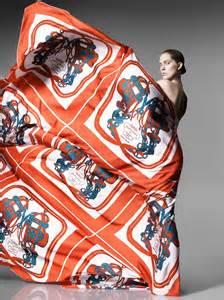 iselin steiro models hermes printed scarves  spring
