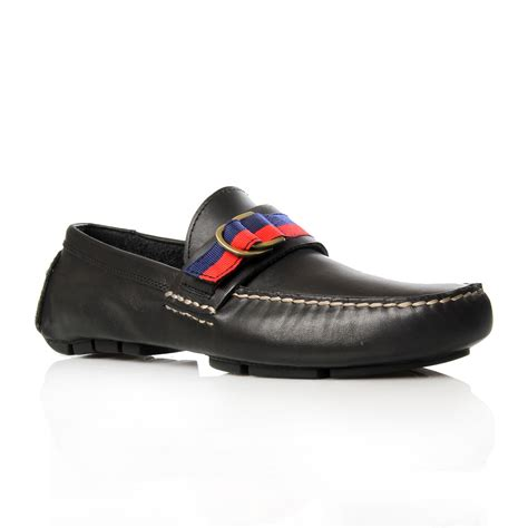 black polo loafers polo ralph terry ribbon driver loafers in black for