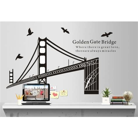 Golden Gate Bridge Ay1941 Wall Sticker Stiker Dinding 60x90cm a golden gate bridge wall sticker 135x82cm size ay1941