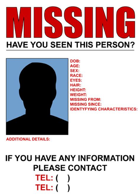 missing flyer template list of missing organizations