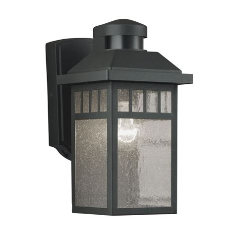 lowes outdoor motion lights shop portfolio 11 5 in h black motion activated outdoor
