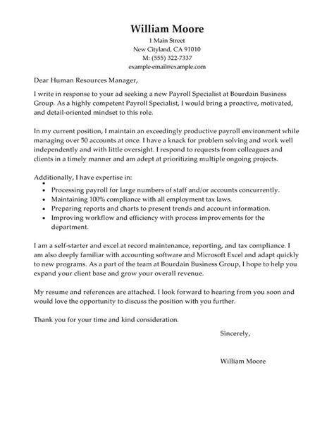 Cover Letters For Detox Specialist by Payroll Specialist Cover Letter Sle Search