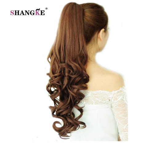 gfabke hair pieces in bsrrel curl shangke 22 long curly ponytail hair pieces clip in fake