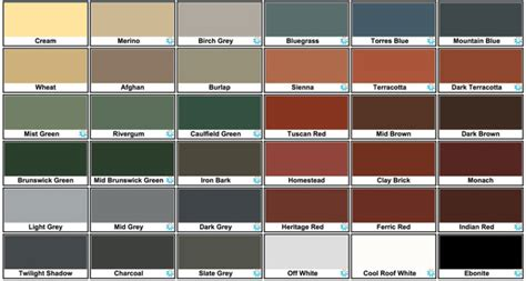 exterior paint colour chart home design