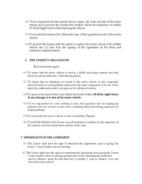 motor vehicle lease agreement template vehicle lease agreement template free
