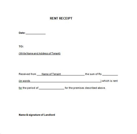 rent receipt template 9 free word excel pdf format download