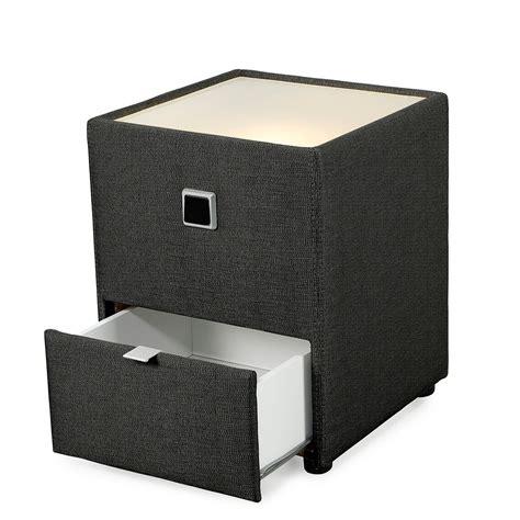 nachtkonsole mit licht nachttisch leya schwarz 43x53x45 cm nachtkonsole