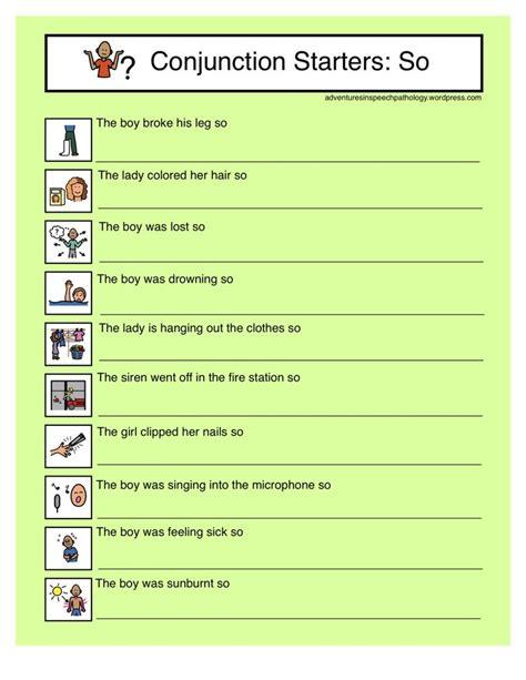 conjunction starter worksheets so hm parts of speech