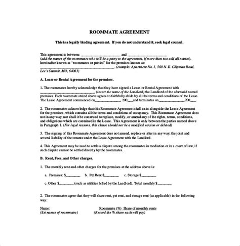 roommate rental agreement template roommate agreement template 10 free word pdf document