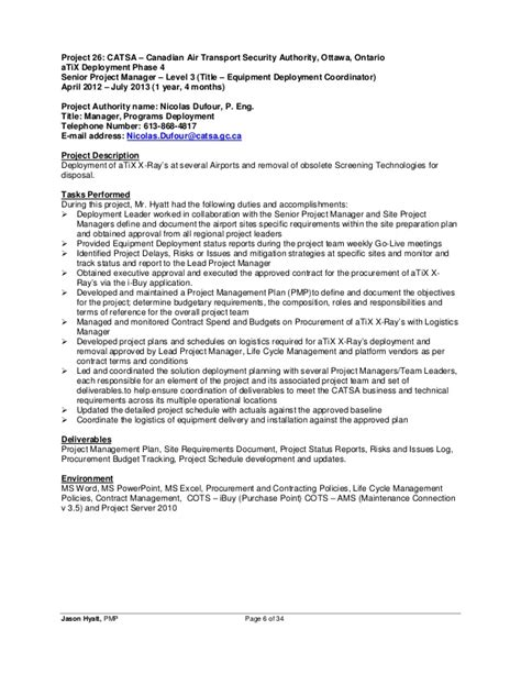 Sample Resume For Purchase Manager by Jason Hyatt Pmp Resume Project Manager 2014 11 27