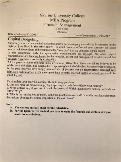 Mba Financial Management Questions And Answers by Solved Skyline College Mba Program Financial M