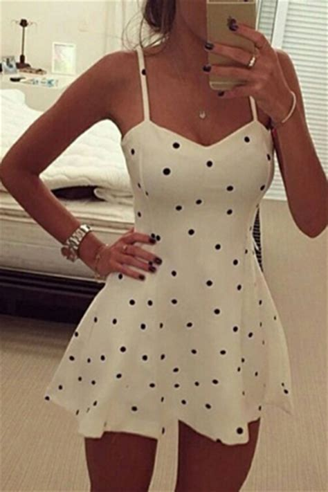 Minidress Polka Spandek v neck spaghetti sleeveless polka dots print white spandex mini dress dresses