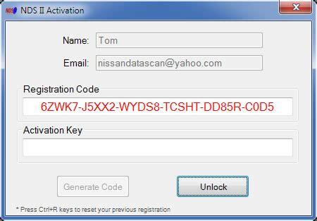 nissan datascan ii software registration