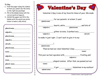 mad libs valentines mad lib free valentines mad lib activity by lynette tpt