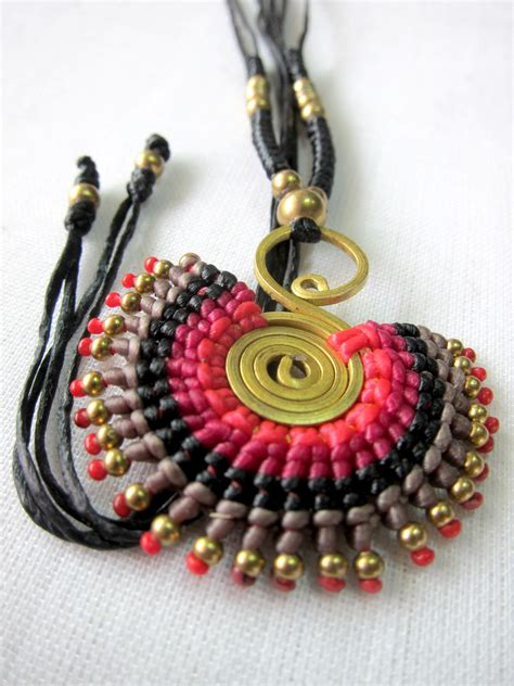 Thailand Handmade Jewelry - knitting necklace with many color wax thread boho hippie