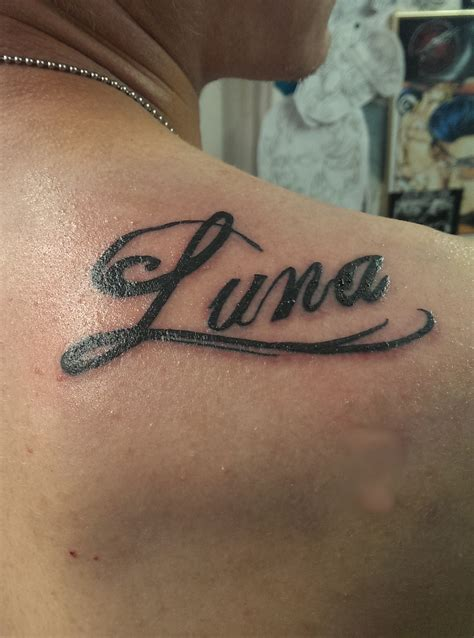 luna tattoo princess s name calligraphy by pliskinus on