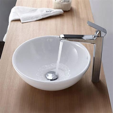 bathroom vessel sink ideas kraus soft ceramic vessel bathroom sink in white