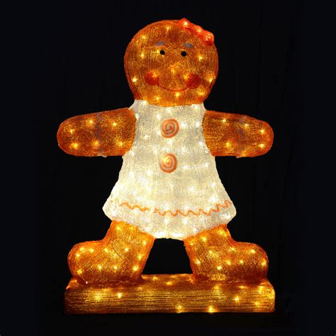 christmas gingerbread girl light up decoration 80cm mains