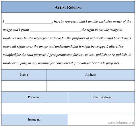 artist release form template artist release form sle forms