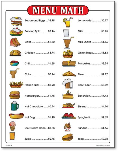 Beginners Math Worksheets by Menu Math For Beginners 6 Menus Kelpies