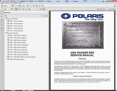 Polaris Rzr 800 2008 2013 Service Manual Wiring