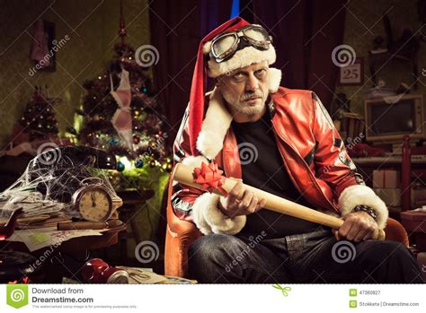 shitty christmas gift bad santa with bad gift stock image image 47360827